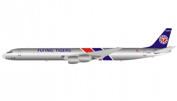 Flying Tigers Douglas DC-8-73CF N155CA Polished with stand IF873FT1219P InFlight  scale 1:200