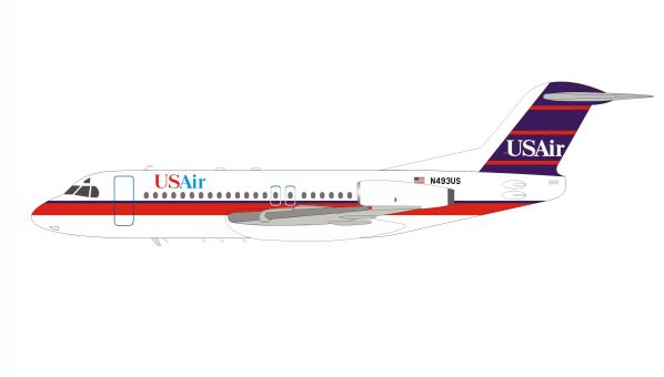 USAir Fokker F-28-4000 Fellowship N493US With Stand InFlight IF28US0319 scale 1:200