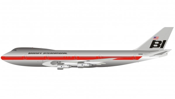 Braniff International Airways Boeing 747-100 N9666 Polished InFlight IF741BN1218P scale 1:200