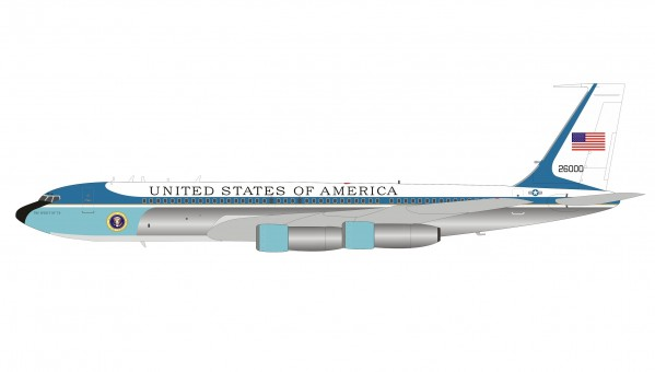 US Air Force One VC-137C SAM 26000 (Boeing 707) The spirit of 76' with collectors coin and stand InFlight IFAF1VC-137C-P scale 1:200