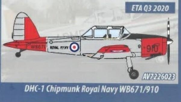 Royal Navy de Havilland Canada DHC-1 Chipmunk T.10 Aviation 72 AV72-26023 Scale 1:72
