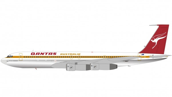 Qantas Boeing 707-338C VH-EBV Polished  InFlight die-cast IF707QF1119P scale 1:200