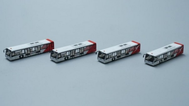 Qantas Airport Bus Set  of 4 Accessories AA4003  scale 1:400