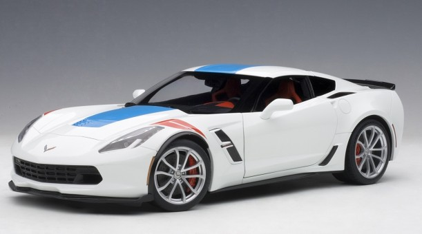 Arctic white-blue Chevrolet Corvette Grand Sport red stripes AUTOart 71271 1:18