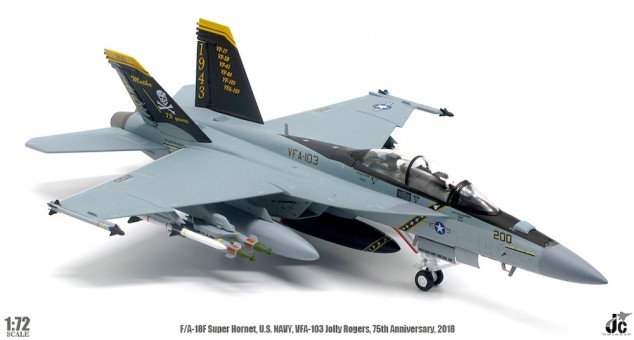 US Navy Jolly Rogers F/A-18F Super Hornet VFA-103 75th Anniversary 2018 JC wings JCW-72-F18-007 scale 1:72