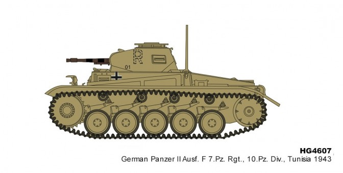Panzer II Ausf. F 7.Pz. Rgt. 10.Pz Div Tunisia 1943 Hobby Master HG4607 scale 1:72