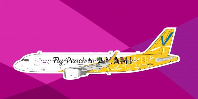 "Peach Aviation A320 JA08VA ""Fly Peach to Amami"" die-cast Panda Model 202110 scale 1:400"
