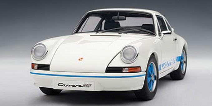Front  Porsche 911 RS 2.7 1973 White w/Blue Stripes AUTOart 78052 Die-Cast 1:18