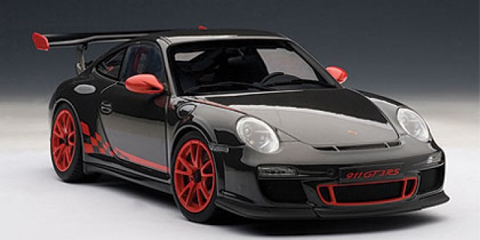 Porsche 911 (997) GT3 RS, Grey Black w/Red Stripes 78141 AUTOart 118