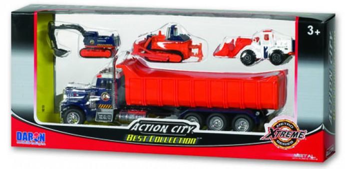 Action City Dump Truck w/ 3 Vehicles RT38932D