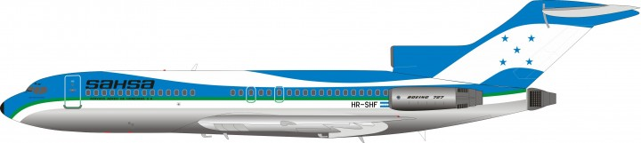 Sahsa Boeing 727-100 HR-SHF with stand InFlight EA721SH1019 scale 1:200