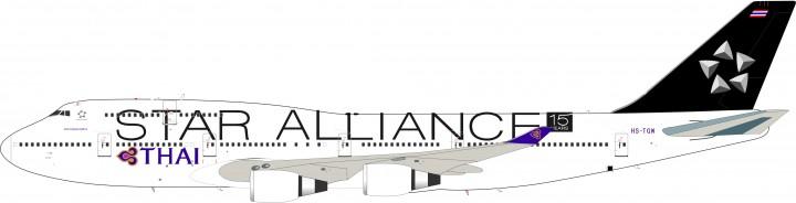 Thai Airways Star Alliance 747-4D7 Reg# HS-TGW JFOX/ InFlight JF-747-4-035 Scale 1:200