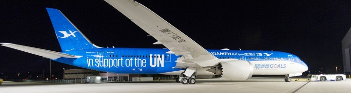 "Xiamen Boeing B787-9 ""UN GOAL Livery, Flaps"" B-1356 KDCXA002A JCW Scale 1:400"