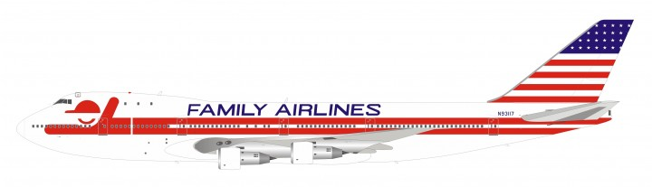 Family Airlines Boeing 747-100 N93117 polished with stand InFlight IF741FAM0519 scale 1:200