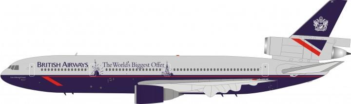 British Airways DC-10-30 Landor Tail World Biggest Offer Reg# G-NIUK JFox/InFlight JF-DC10-3-002 Scale 1:200