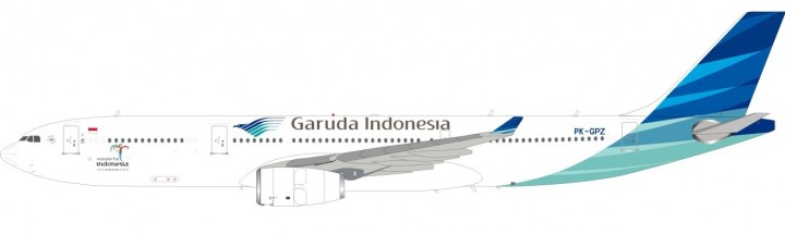 Garuda Indonesia Airbus A330-300 Reg# PK-GPZ With Stand InFlight-JFox JF-A330-006 Scale 1:200