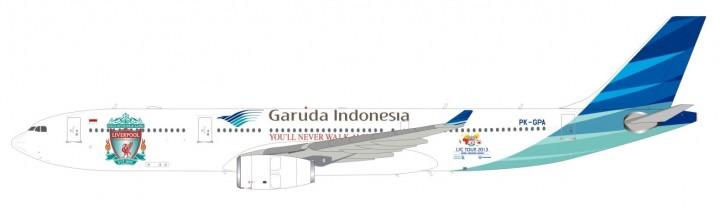 Liverpool Tour Garuda Indonesia Airbus A330-300 2013 Reg# PK-GPA w/Stand InFlight/JFox JF-A330-013 1:200