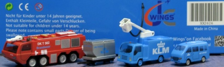 KLM GSE Ground Service Vehicles Set #6 4 Pices Fire Truck, LD-3 dolly, Boom truck, Van JC2KLM026 Scale 1:200