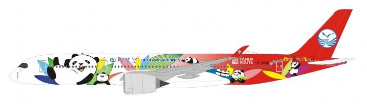 Sichuan Airlines Airbus A350-900 B-306N Panda Route 四川航空 Inflight  IF3503U0619 scale 1:200