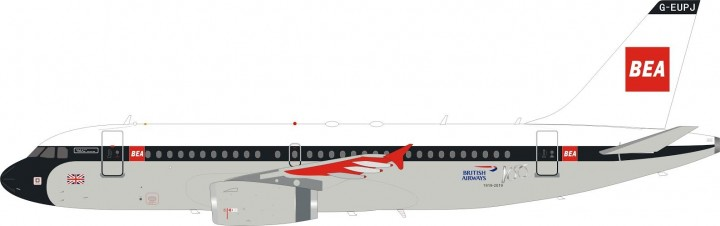 100 Years British Airways/BEA Retro Airbus A319 G-EUPJ Lupa-InFlight InFlight BA100-A319-BEA scale 1:200