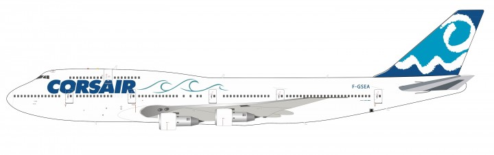 """Corsair Boeing 747-300 F-GSEA """"Sea"""" livery with stand InFlight IF743SEA0619 scale 1:200"""
