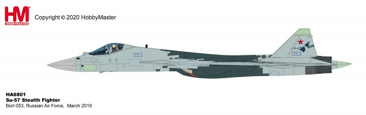 Su-57 Stealth Fighter Bort 053, Russian Air Force, March 2019 (1:72) New Tooling! Hobby Master HA6801 scale 1:72