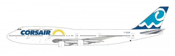 """Limited Corsair Boeing 747-300 F-GSUN """"Sun"""" livery with stand InFlight IF743SUN0619 scale 1:200"""
