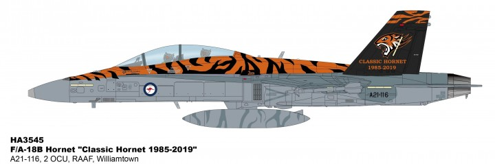 "RAAF F/A-18B Hornet 2 OCU ""Classic Hornet 1985-2019"" Williamtown Hobby Master HA3545 scale 1:72"