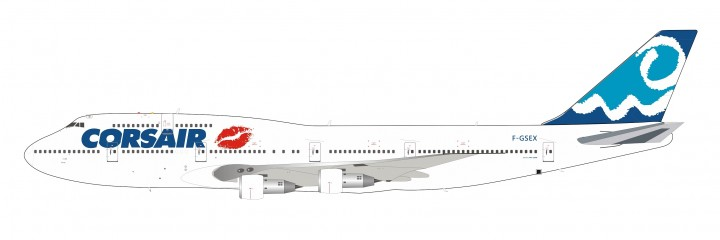 Limited Corsair Boeing 747-300 F-GSEX Lips livery with stand InFlight IF743SEX0619 scale 1:200