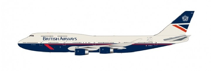 British Airways Landor Retro Boeing 747-400 G-BNLY 100 Years Anniversary with stand InFlight BA100-747-BA-LANDOR scale 1:200