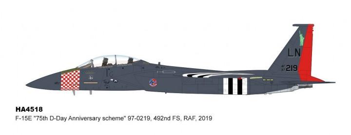"F-15E Eagle RAF 492nd FS ""D-Day 75th Anniversary"" RAF 2019 Hobby Master HA4518 scale 1:72"
