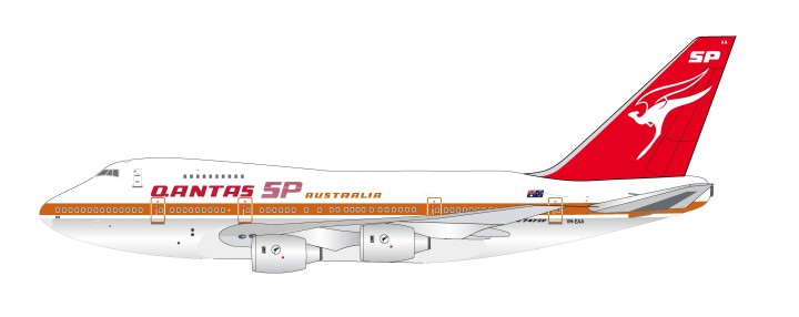 Qantas Boeing 747SP VH-EAA Polished with stand InfFight  IF747SPQFA0119P scale 1:200