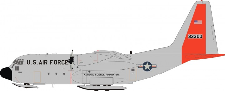 US Air Force LC-130R W/Ski gears and Stand Reg 33300 Aviation AV21300915 Scale 1:200
