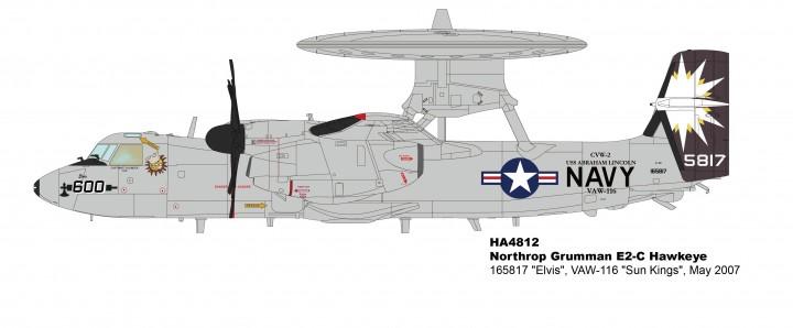 """Elvis"" E-2C Hawkeye VAW-116 ""Sun Kings"" 2007 USS Lincoln  Hobby Master HA4812 scale 1:72"