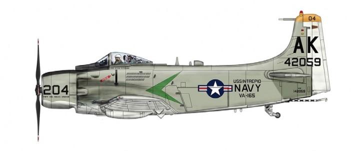 "US Navy A-1H Skyraider USS Intrepid ""Puff the Magic Dragon"" VA-165 Boomers HA2913 Scale 1:72 Hobby Master"