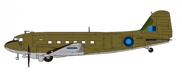 RAF C-47B Skytrain Reg# KG459 No. 24 Sqn, Field Marshal Montgomery 1945 HL1311 Scale 1:200