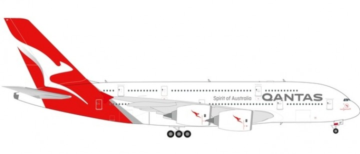 """Qantas Airbus A380-800 new livery VH-OQF """"Charles Kingsford Smith"""" Herpa 559423 scale 1:200"""