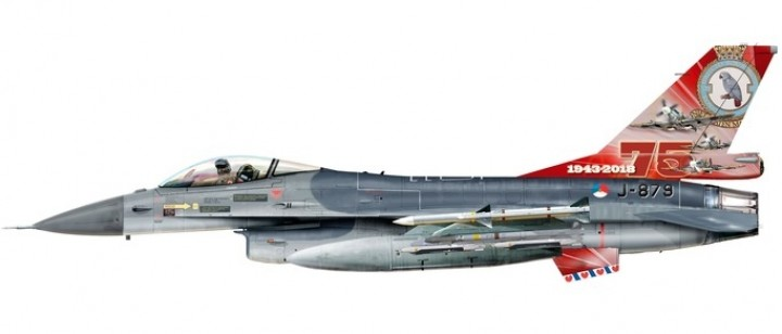 Royal Netherlands Air Force F-16A 75th Anniversary 322 Squadron Leeuwarden AB Herpa 580403 scale 1:72