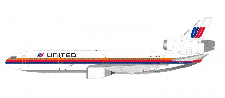 United Airlines McDonnell Douglas DC-10-10 N1812U  Saul Bass Rainbow livery Inflight IF101UA0819 scale 1:200