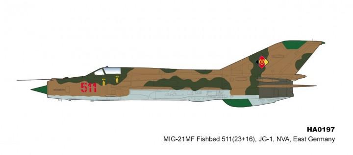 East Germany MIG-21MF Fishbed 551 23+16 JG-1 NVA Hobby Master HA0197 scale 1:72
