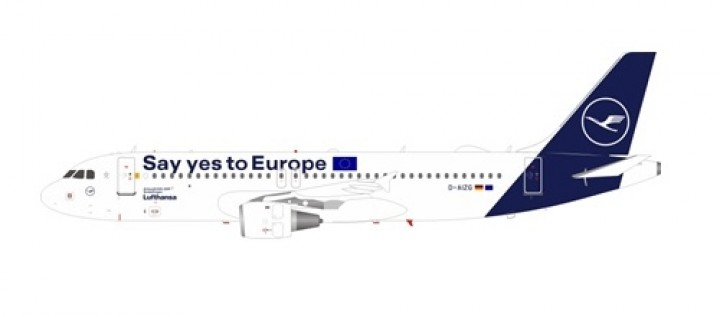 "Lufthansa New Livery Airbus A320-214 D-AIZG ""Say yes to Europe"" JFox/InFlight JF-A320-031 scale 1:200"