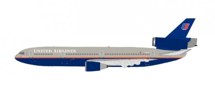 United Airlines McDonnell Douglas DC-10-10 N1835U plus stand  InFlight IF101UA1119 scale 1:200