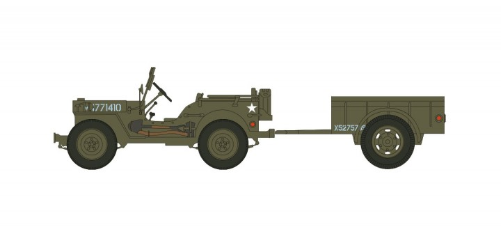 Willys MB Jeep With Trailer Normandy June 1944 Hobby Master HG4214 Scale 1:72