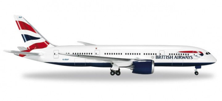British Airways Boeing 787-8 Dreamliner Reg# G-ZBJF die-cast Herpa 524698-001 Scale 1:500