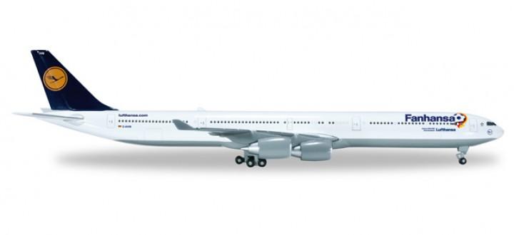 """Lufthansa A340-600  """"Fanhansa"""" D-AIHN """"Gummersbach""""  Herpa HE526845 1:500"""