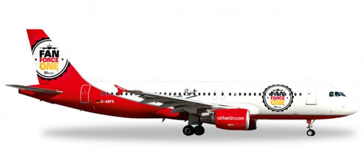 "Air Berlin A320  ""Fan Force One"" ""D-ABFK"" Herpa HE526920 Scale  1:500"