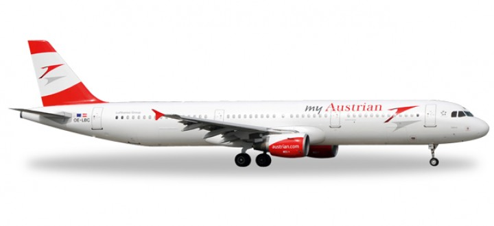 "Austrian Airlines Airbus A321 ""My Austrian"" (New 2015 Colors) Reg# OE-LBC Herpa Wings HE528139 Scale 1:500"