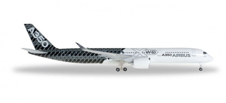 Improved Carbon Airbus House A350XWB Reg# F-WWCF with Sat Dome Herpa 528801-001 Scale 1:500
