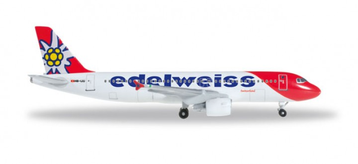 Edelweiss Airbus A320 New 2016 Colors Reg# HB-IJU Herpa Wings 528986 Scale 1:500
