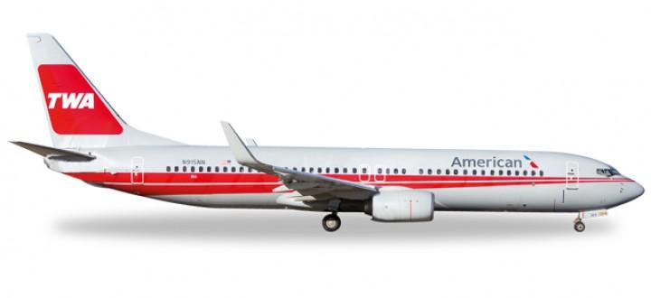 """American Retro """"TWA"""" Boeing 737-800 Reg# N915NN Herpa Wings 529259 scale 1:500"""